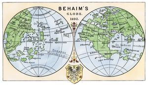 Behaim's 1492 globe showing a round Earth but no New World