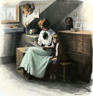 Boy learning at home, circa 1900