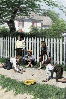 Boys playing marbles, 1800s