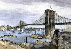 Brooklyn Bridge when newly opened, 1883