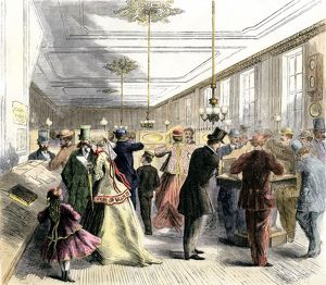 Busy telegraph office in New York City, 1860s