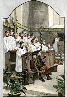 Christmas music in an Anglican church, 1880s