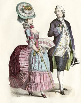Clothing fashion in France about 1780