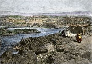 Columbia River fishing camp of Native Americans