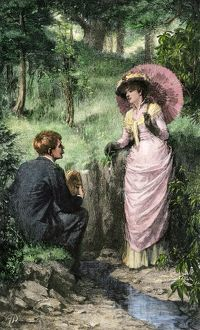 Courtship in a woodland setting, 1800s