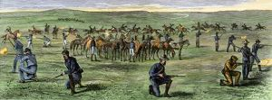 Custer's 7th Cavalry battling Sioux warriors