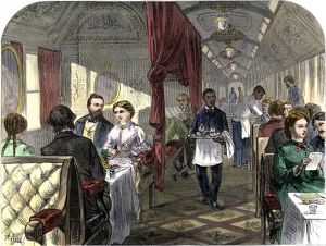 Dining car on the transcontinental railroad