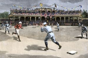 Double-play in a New York/Boston baseball game, 1886