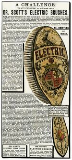 Electric brush for hair restoration, 1880s