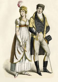 European couple dressed in the Empire style
