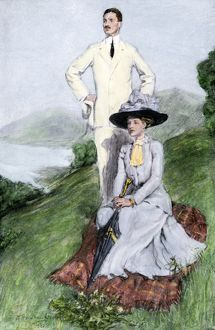 Fashionable couple outdoors, early 1900s