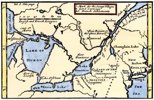 French map of the Great Lakes, 1703