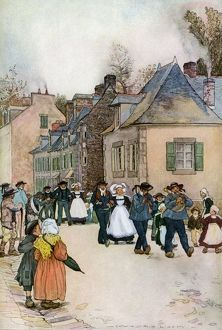 French village wedding procession, 1800s