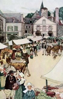 Frrench village on market-day