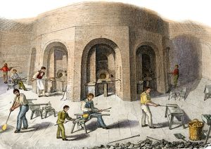 Glass factory workers in Britain, 1800s