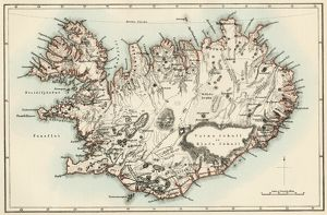 Iceland map, 1800s