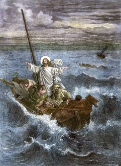 Jesus calming the storm on the Sea of Galilee