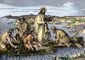 Jesus performing a miracle on the Sea of Galilee