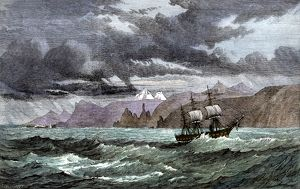 Kerguelen Islands visited by a British ship, 1870s