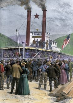 Klondyke Gold Rush riverboat in Dawson City, 1898