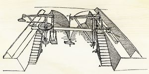 Leonardo da Vinci drawing of a canal dredge