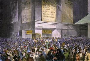 Lincoln election results displayed in New York City, 1860