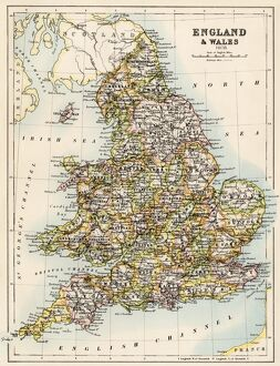 Map of England, 1800s
