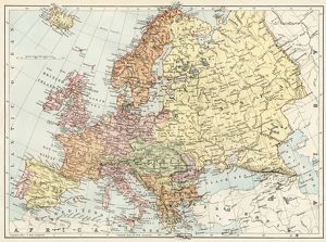 Map of Europe, 1870s