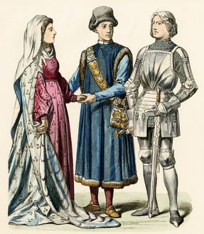 Medieval German couple and a knight