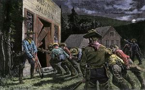 Miners smashing into a saloon