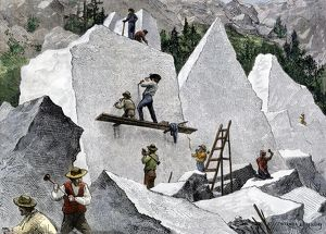 Mormons cutting stone for their temple, Utah