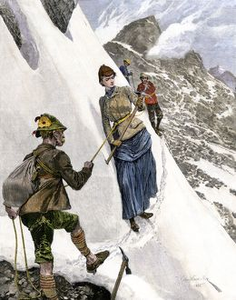 Mountain climbers in the Alps, 1880s