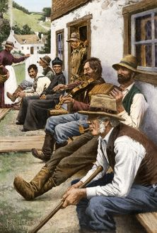 Neighborhood concert in a French-Canadian village, 1900