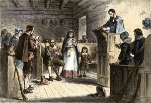 Plymouth colonists in church, 1620s