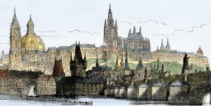 Prague on the Vltava River, 1800s