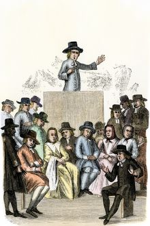 Quaker meeting in England, 1710