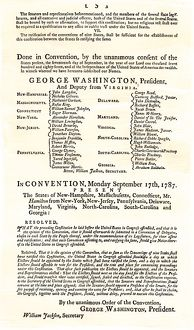 Ratification resolution by the Constitutional Convention, 1787