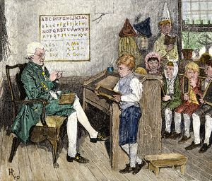 Reading lesson in a Pennsylvania classroom, 1700s
