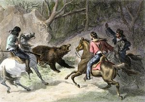Roping a bear in California, 1800s