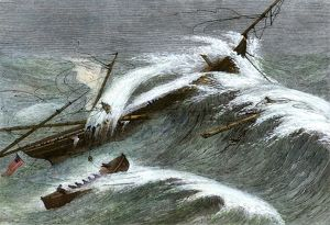Ship 'Alarm' wrecked off the Irish coast, 1866