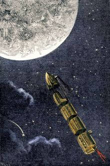 Spaceship to the Moon imagined in the 1870s