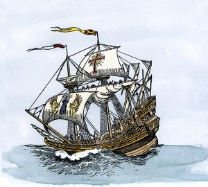 Spanish galleon at sea