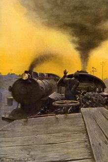 Steam locomotives passing each other, early 1900s