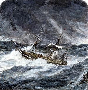 Steamship in an ocean storm