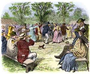 Summer holiday celebration in an American village, 1800s