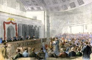 US Supreme Court hearing a Mississippi injunction case, 1867
