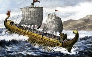 A trireme, used by the ancient Greeks and Romans