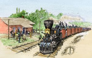 Troop train taking Union soldiers to the front