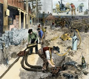 Underground wiring laid in New York City, 1882