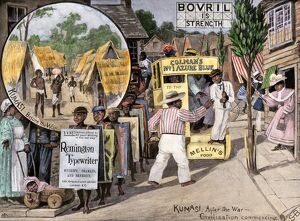 Before and after views of Kumasi, Ghana, as a British protectorate, 1890s